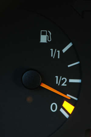 Petrol meter showing low petrol level Stock Photo - 730257