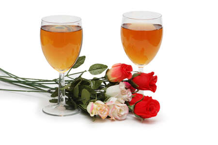 Two glasses on wine and flowers isolated on white Stock Photo - 730254