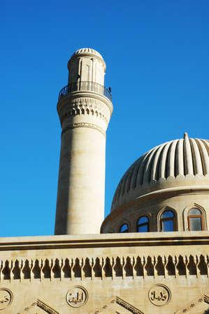 Mosque and minaret in Baku, Azerbaijan photo