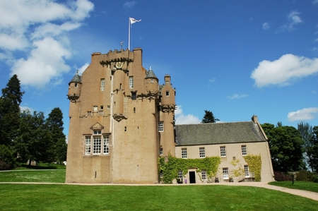 macbeth: Medieval Scottish castle in bright summer day Stock Photo