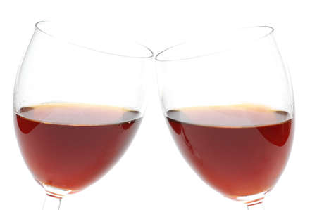 Two wine glasses isolated on the white photo