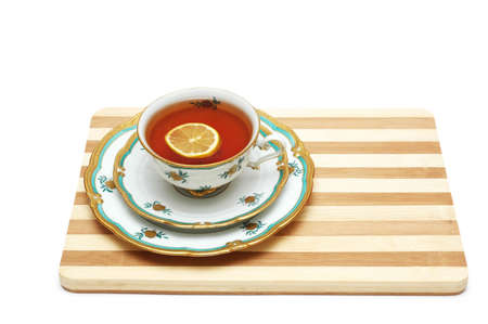 Cup of tea with lemon isolated on the white Stock Photo - 778886