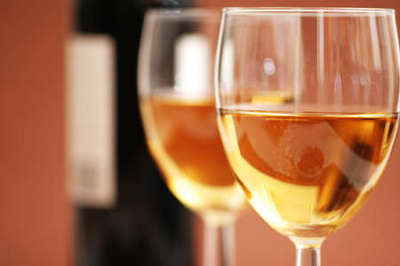 Two wine glasses and a bottle a wine Stock Photo - 778092