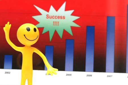 Smilie making presentation about companys business success photo