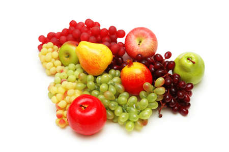Various summer fruits isolated on the  white photo