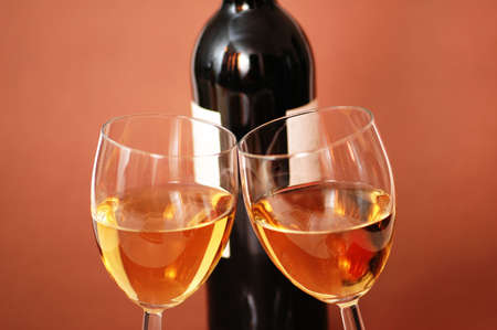 Two wine glasses and bottle of wine Stock Photo - 803506