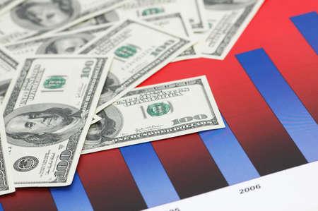 grafica de barras: Cartas de barra y cientos billetes de banco del d�lar
