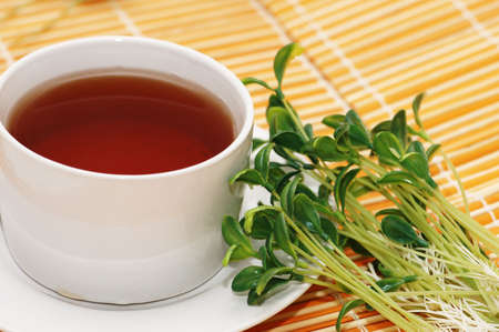 Cup of black tea and herbs photo