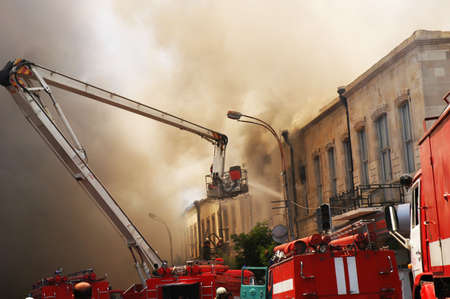 Firefighters at the fire in the  citycenter photo