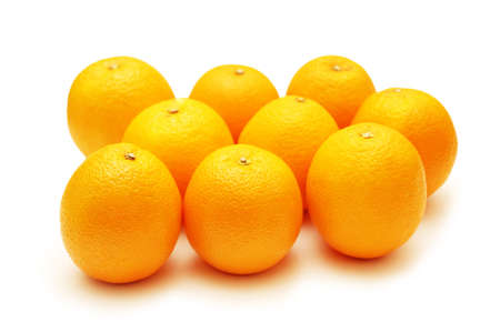 Oranges arranged in rows and isolated  on white Stock Photo - 822690