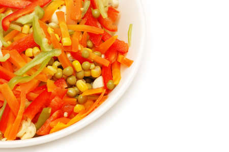 Bowl of salad with  fresh vegetables isolated on white Stock Photo - 836805