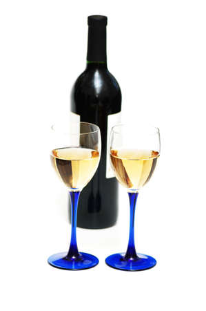Two glasses of wine and bottle isolated on white Stock Photo - 846705