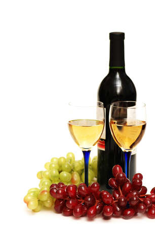 Two glasses of wine, bottle and grapes isolated  on white Stock Photo - 846704