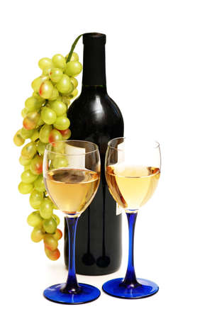 Two glasses of wine,  bottle and grapes isolated  on white photo