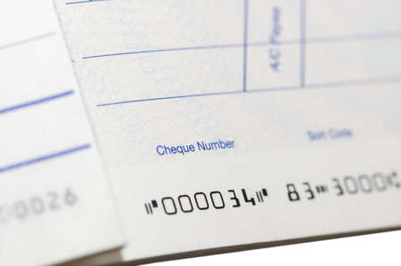 Close up of cheque book - shallow  depth of field Stock Photo