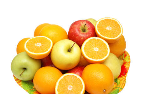 Apples and oranges in the tray  isolated on the white Stock Photo - 846686