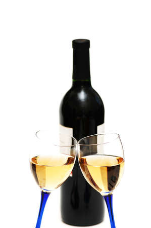 Two wine glasses and bottle photo