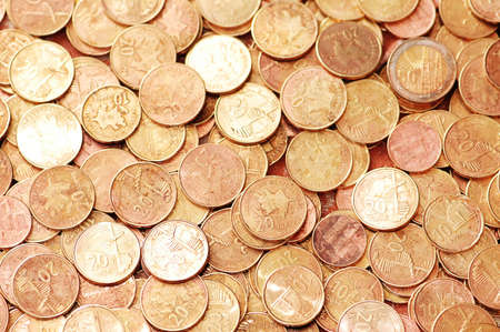 Business concept - Background with  many golden coins Stock Photo