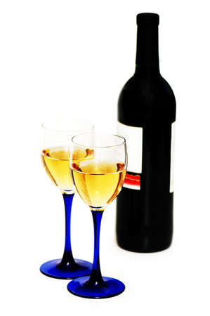 Two glasses and bottle of wine  isolated on white Stock Photo - 888755