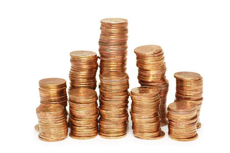 monies: Stacks on gold coins isolated  on white Stock Photo