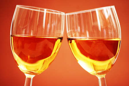 biege: Two wine glasses on the biege background Stock Photo