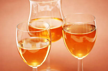 Three wine glasses on the biege  background Stock Photo - 897623