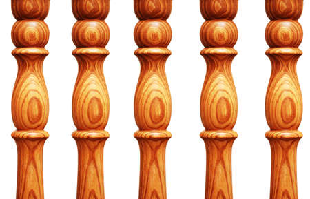 pilasters: Wooden pilasters  isolated on the white background Stock Photo