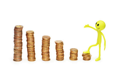 monies: Smilie climbing the ladder of success -  isolated on white Stock Photo