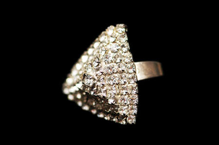 diamonds isolated: Ring with diamonds isolated  on the black