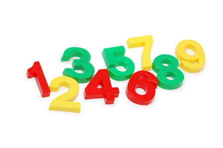 numeracy: Various digits isolated on  the white background Stock Photo