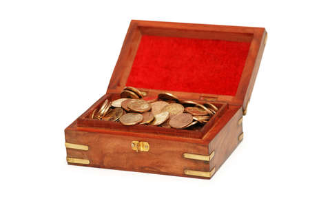 Chest full of coins isolated  on white Stock Photo - 927382