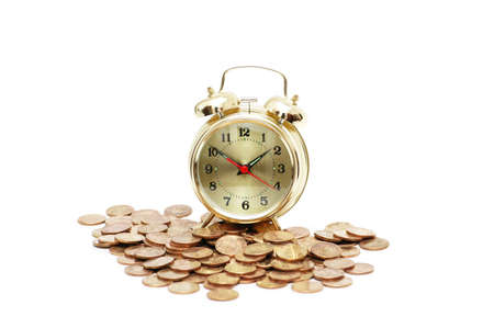 path to wealth: Time is money concept with clock  and coins