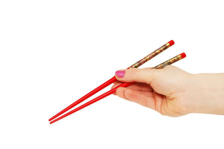 Hand with chopsticks isolated on the  white Stock Photo - 927418
