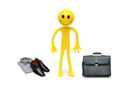 Businessman on the move with  his accessories photo
