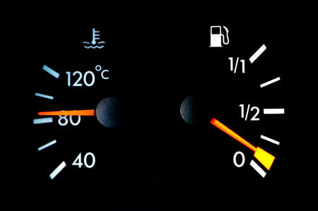 Petrol and temperature meters  on car dashboard Stock Photo - 946282