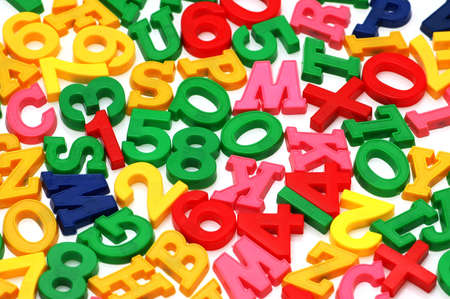 numeracy: Various letters and digits on  the white board