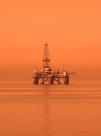 baku: Oil rig in the Caspian Sea  near Baku Stock Photo