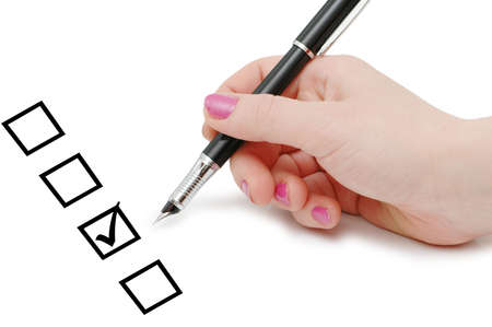 List of checkboxes  and hand with pen Stock Photo - 956288