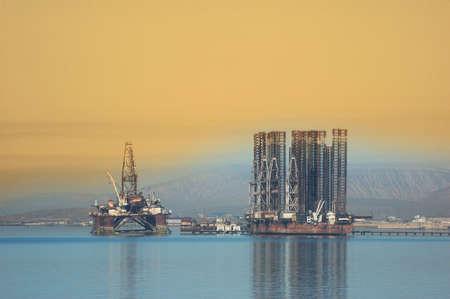 baku: Two offshore rigs at  Caspian shore near Baku