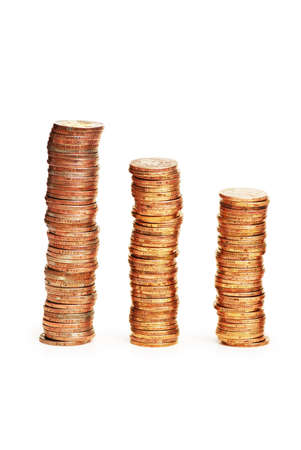 Stacks of coins isolated on the white background Stock Photo - 1016348