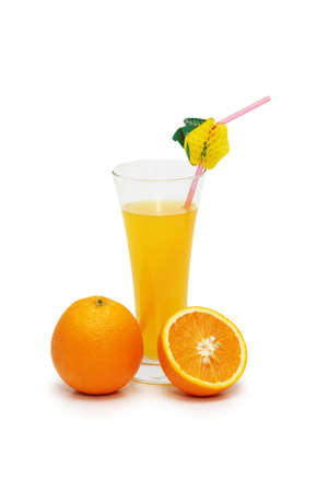 Oranges and juice isolated on the white photo