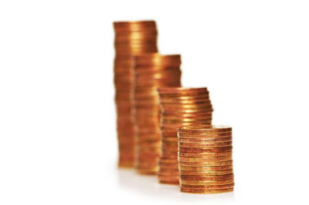 Stacks of coins isolated  on the white  background Stock Photo - 1065219
