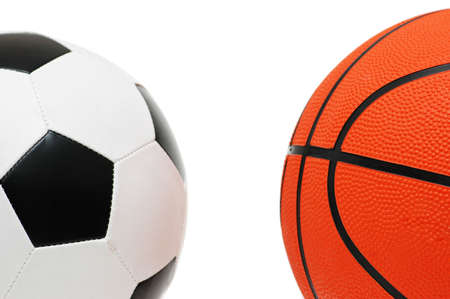 Football and basketball isolated  on the white Stock Photo - 1065223