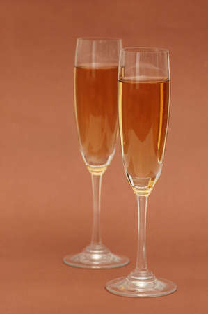 Two wine glasses on the  biege background Stock Photo - 1065246