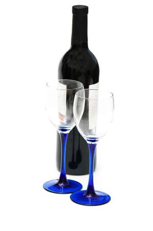 Two glasses and bottle of wine isolated on white Stock Photo - 1106387