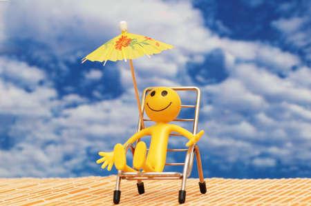 Smilie enjoying sun  at the tropical island Stock Photo