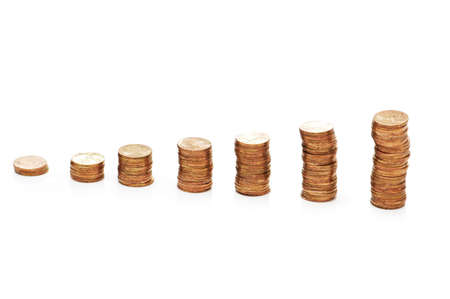 Stacks of coins isolated on the white  background Stock Photo - 1117925