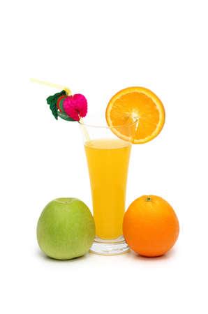 Orange, apple and juice isolated on white photo
