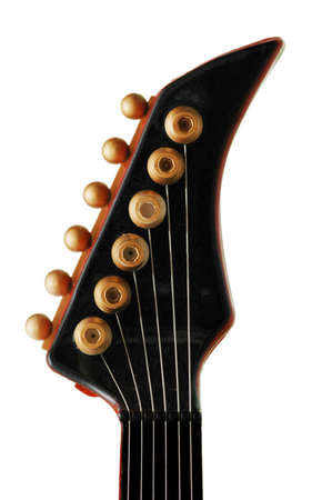 songwriter: Neck of the guitar isolated on the white Stock Photo