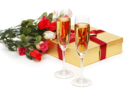 Giftboxes and champagne isolated on the white Stock Photo - 1117989